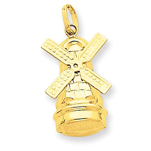 14k Yellow Gold Windmill Charm Pendant 23mmx12mm