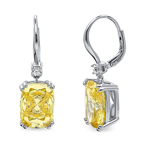 BERRICLE Rhodium Plated Sterling Silver Canary Yellow Cushion Cut Cubic Zirconia CZ Statement Solitaire Leverback Anniversary Wedding Dangle Drop Earrings