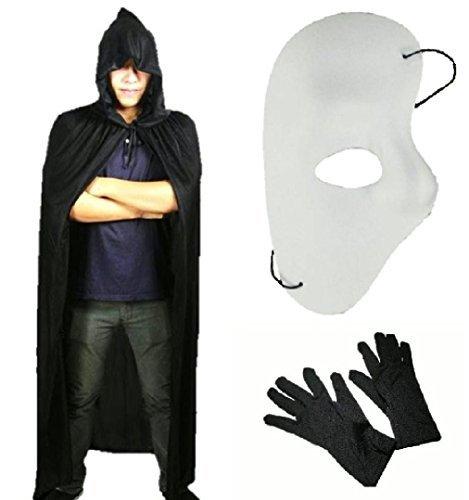 Halloween black cloak Opera phantom wind Phantom mask disguise costumes black gloves set [traders] thin long Cape hooded (Halloween Costumes Phantom Of The Opera)