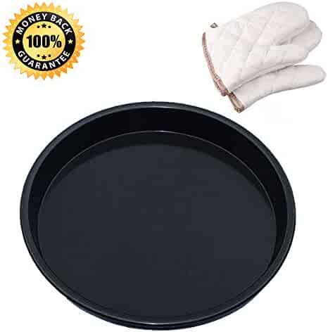 Pizza Pan, Kitchen Baking Tray Non-Stick Hard Coating Microwave Crispers Commercial Grade Round Baking Pans(Size 10'' Cake Pan/Pie Pans Black 1-Count + Oven Mitt 2-Count 8.7'' x 6.3'')