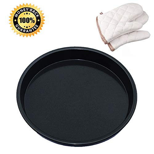 Pizza Pan, Kitchen Baking Tray Non-Stick Hard Coating Microwave Crispers Commercial Grade Round Baking Pans(Size 10'' Cake Pan/Pie Pans Black 1-Count + Oven Mitt 2-Count 8.7'' x 6.3'') 10' Aluminum Pie Pan