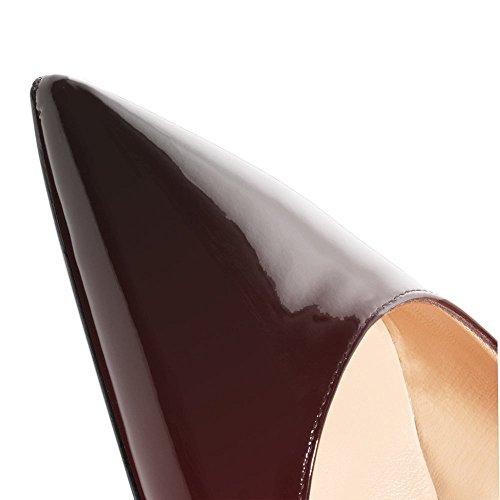 Rot Scarpe Lutalica schwarz Donna Tacco Col Patent xqqdIr