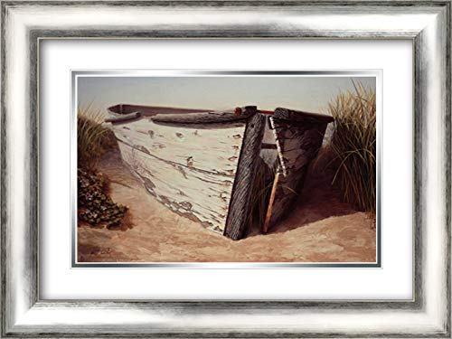 (White Boat II 24x17 Silver Contemporary Wood Framed and Double Matted Art Print by Soderlund, Karl)