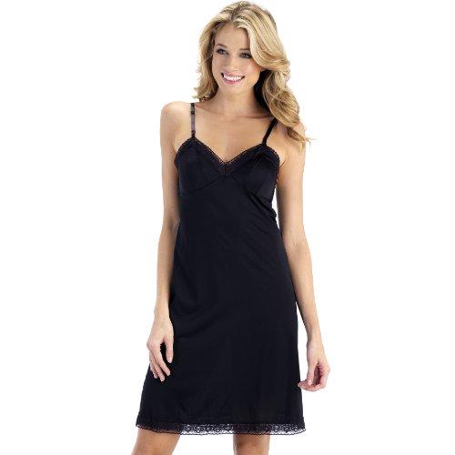 Vanity Fair Women's Rosette Lace Full Slip 10103, Midnight Black, (Black Nylon Full Slip)
