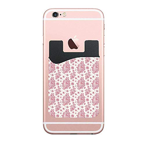 Peonies English Roses Victorian Bouquet Corsage Phone Card Holder Sleeves Wallet Pocket Credit ID Case Pouch Adhesive Sticker for iPhone and Most Smartphone