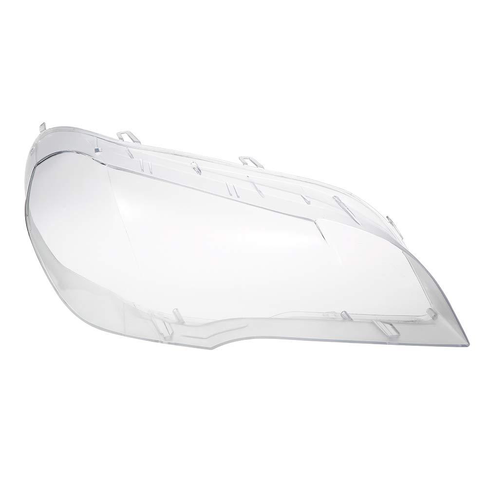 KKmoon Fanale anteriore Lente trasparente, copertura della lampada trasparente, paralume luminoso per X5 E70 2008-2013, Sinistra