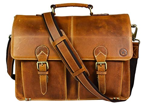 Leather Briefcase Messenger Bag for Laptop Leather Satchel By Aaron Leather