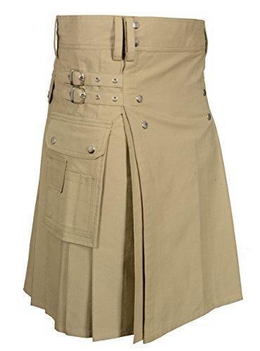 Men's Khaki Utility Kilt (Belly Button Size 40) by Scottish Designer (Image #2)