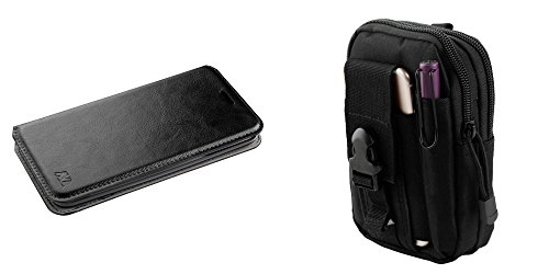 Professional Leatherette Flip Wallet Cover Case with Compact Multi-purpose Tactical EDC MOLLE Waist Utility Pouch, Atom Cloth for LG K30 - Black ()