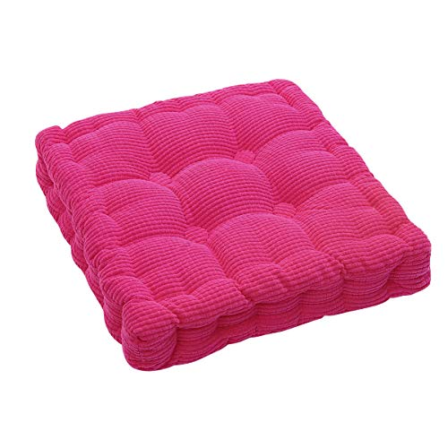 (Square EPE Filled Chair Pad Cushion Natural for Home Office Dinning Chair Solid Color Indoor Outdoor Seat Chair Pad (Rose red, Small(15.75