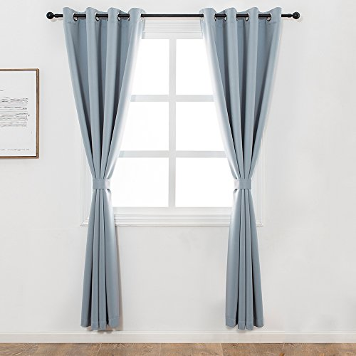 Mangata Casa Blackout Window Curtains Thermal Insulated Grommet Bedroom Drapes with 1 Tie Back, 1 Panel 250gsm(Blue,52x84in) (Retailer Curtain)