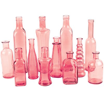 Syndicate Home & Garden 3203-24-427 Vintage Bottle Collection44; Pink - 6.75 in. - Case Of 24