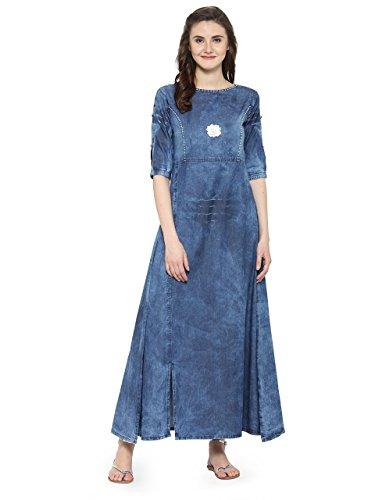 Slit Front Cotton Top - Kvsfab Womens Tunic Top 3/4 Sleeves Indian Aline Kurta Cotton Denim Front Slit Kurti 36 Blue