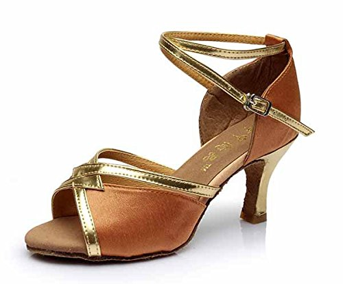 YFF Mädchen Ballroom tango Frauen salsa Latin Dance Schuhe 5 cm und 7 cm hohem Absatz,Braun 7 CM,4.5