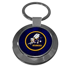 Premium Key Ring with U.S. Naval Construction Force (CBs, SeaBees), emblem by ExpressItBest