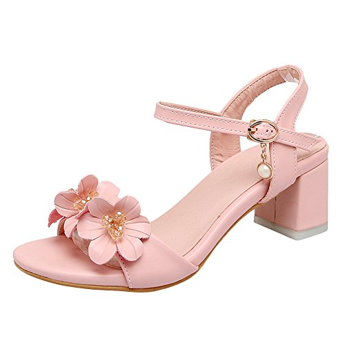 Carolbar Women's Charm Flower Beaded Mid Heel Buckle Date Sandals Pink Scunb