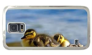 Hipster Samsung Galaxy S5 Case thin cover cute ducklings PC Transparent for Samsung S5