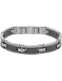 Mens Black Ceramic Stainless Steel Bracelet
