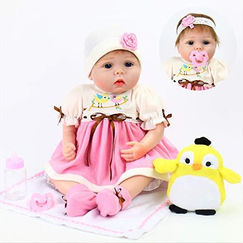Bird Doll - Aori Realistic Reborn Doll Lifelike Handmade Soft Body Toy 22 Inch Weighted Roborn Baby Girl with Little Bird Gift Set