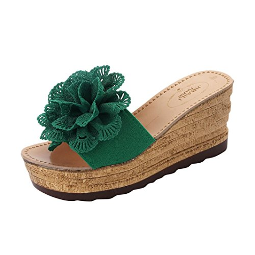 HLHN Women Slipper,Sexy Flower Wedge Heel Sandals Platform Shoes Slope Flops Beach Summer Green