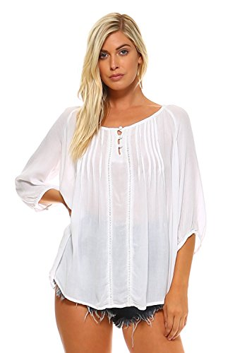 Peasant Blouse Shirt - Carrie Allen White Peasant Blouse Top for Women with ¾ Sleeves and High-Low Hem (X-Large)