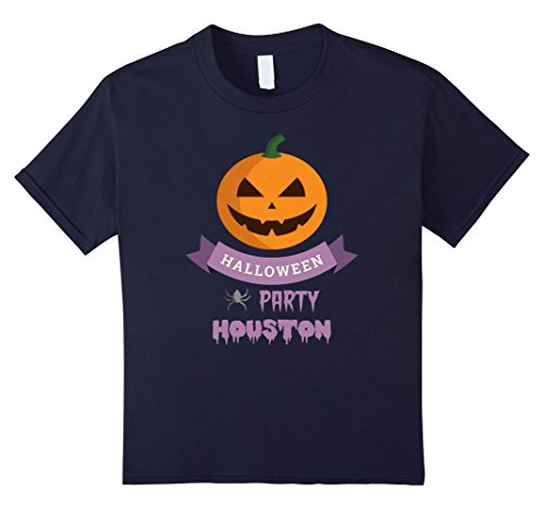 [Kids Houston Scary Pumpkin Local Halloween Party T Shirt 12 Navy] (Party Boy Houston Halloween Costumes)