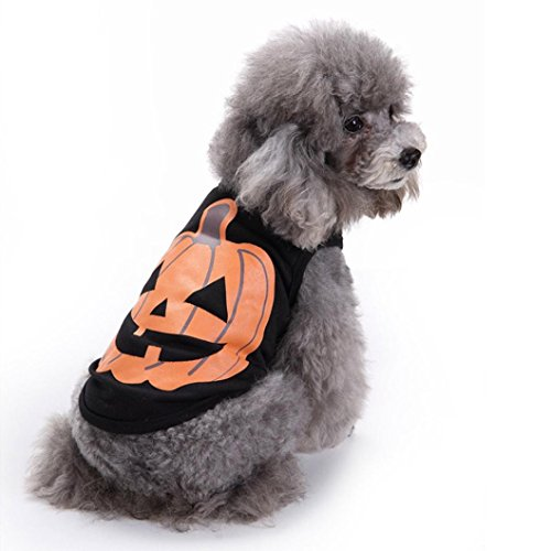 LINGERY Pet Dog Clothes Halloween Festivals Pumpkin Cotton Black Vest T-shirt Clothes for Cat Dog Puppy (S)