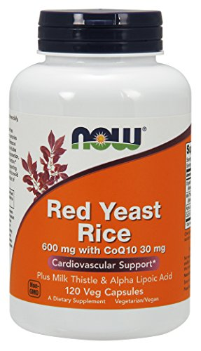 NOW Supplements, Red Yeast Rice with CoQ10, plus Milk Thistle & Alpha Lipoic Acid, 120 Veg Capsules