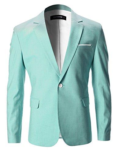 - FLATSEVEN Mens Slim Fit Cotton Stylish Casual Blazer Jacket (BJ202) Green, S