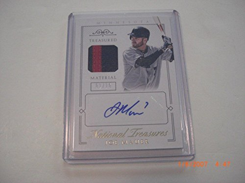 Joe Mauer 2016 National Treasures 2-color Game Used Jersey Auto 1/10 Signed Card - Baseball Autographed Game Used Cards