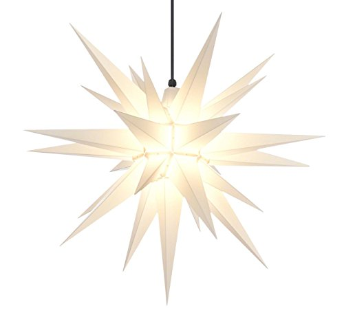 Elf Logic - 21'' Large White Moravian Star - Bright Hanging Outdoor Christmas Light - use as Exterior Holiday Decoration, Bethlehem Porch Light, 3D Fixture or as Advent Star Home Accent (Light Tree Topper)