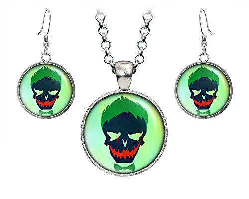 DC+Comics Products : Suicide Squad Joker Pendant Necklace, DC Comics Harley Quinn Jewelry, Justice League Earrings, Wedding Party, Geek Gift Geeky Gifts Nerd Nerdy Presents