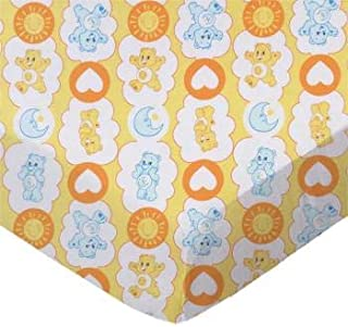 product image for SheetWorld 100% Cotton Percale Flat Crib Toddler Sheet 28 x 52, Care Bears Yellow, Made in USA