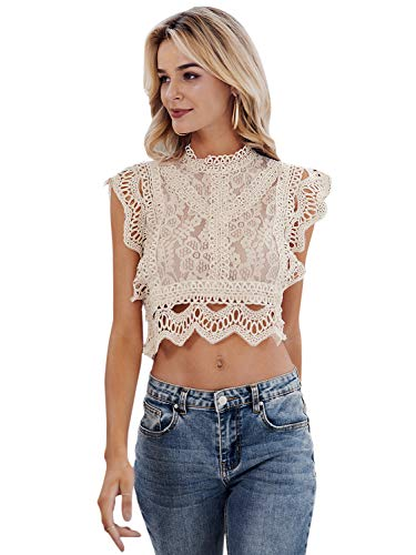 Miessial Women's Lace Embroidery Sleeveless Crop Tops Elegant Hollow Out Summer Cami Tops Beige 4/6