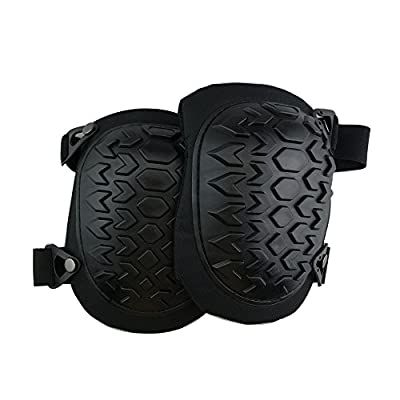 The Contractors Solution Professional Construction Knee Pads With Memory Foam Gel For Flooring, Gardening, Roofing, and Snowboarding. Heavy Duty.