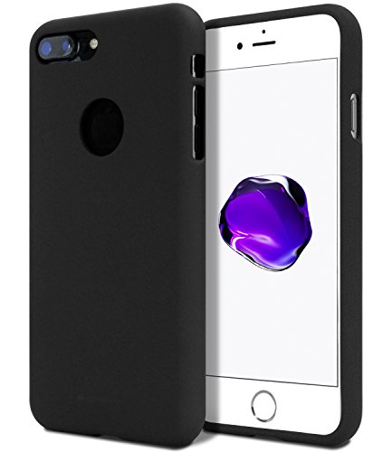 iPhone 7 Plus Case for Apple iPhone 7 Plus, [Thin Slim] GOOSPERY [Flexible] Soft Feeling Jelly [Matte] Silky TPU Rubber Liquid Gel Silicone Case [Lightweight] Bumper Cover (Black) - Jelly Case Black