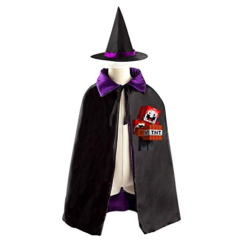 Robe Dude The Costume (DBT Minecraft ExplodingTNT Logo Childrens' Halloween Costume Wizard Witch Cloak Cape Robe and)