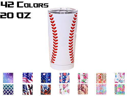 - Yoelike Stainless Steel Vacuum Insulated 1-Pack Tumbler White baseball 20 oz Cup - White baseball