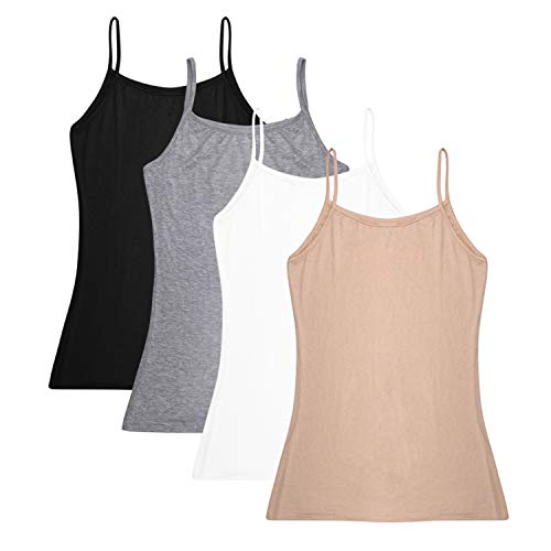 Womens Cotton Camisole - Oulinect Women's Basic Solid Adjustable Spaghetti Strap Tank Top 2-4 Pack Cotton Camisole Cami Tank Tops L