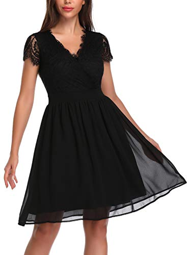 OTEN Women Floral Lace Cross V Neck Pleated Sewing Skater Dress for Party Black ()