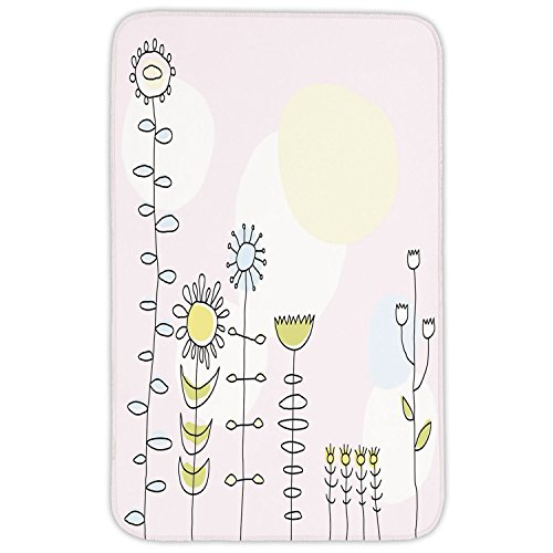 Rectangular Area Rug Mat Rug,Kids,Cute Sunflower Tulips Daisy Field Sun Nature Childish Cartoon Design Decorative,Light Pink Yellow Blue Green,Home Decor Mat with Non Slip Backing by iPrint