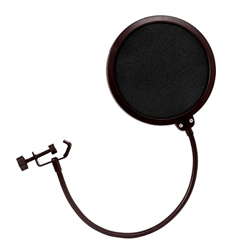 YPS Double-Net Pop Filter Studio Microphone Mic Shield 6 Inches 360-degree Wind Screen with Stand Clip Steel Gooseneck for Condenser KTV Recording Room Dynamic Ribbon Mics (Black) (Condenser Room)
