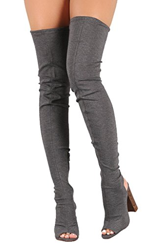 Liliana Stretched Faux Seude Chunky Heel Over-The-Knee Boots Sage44 Dark Grey Nc1VcxW8
