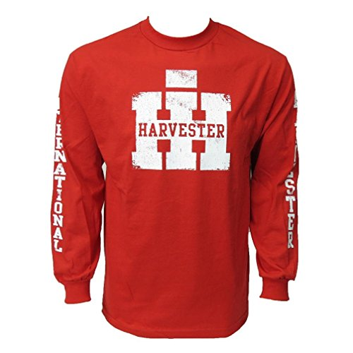 Red Long Sleeve Men`s IH College Distressed Logo Tee Shirt from Case IH