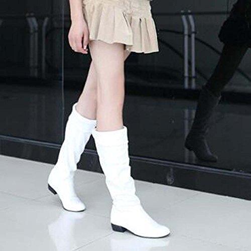 Solshine Damen Langschaft mit Falten Blockabsatz Stiefel Knee High Boots Größe 35 - 43 Weiss (mit Fell)