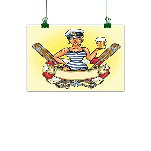 (Anzhutwelve Wall Art Decor Girls,Pin Up Sexy Sailor Girl Lifebuoy with Captain Hat and Costume Glass of Beer Feminine,Multicolor for Office Living Room W 32