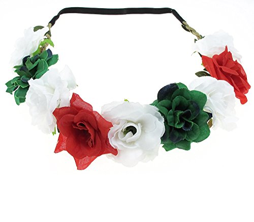 Floral Fall Festival Flower Crown Christmas headbands Wedding Headpieces F-58 (Red White (Headband Red Green)