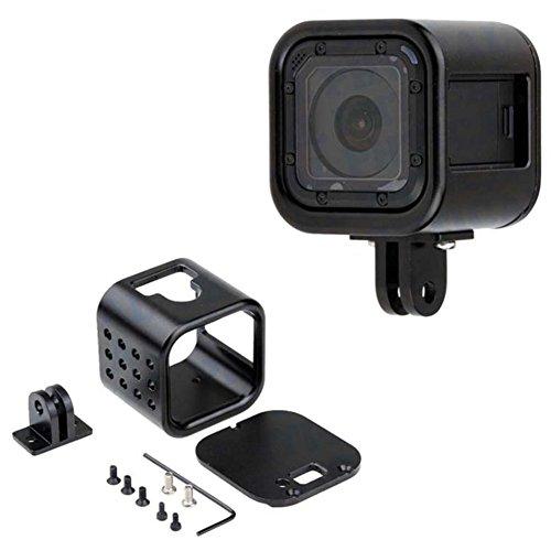 CNC Aluminum Alloy Housing Sport Camera Shell Box Frame Mount Prevent Overheating Case for GoPro Hero 5 Session/ Hero 4 Session(Black)