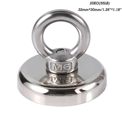 Heavy Duty River Lake Salvage Fishing Recovery Magnet Strong 14-112KG(30LB-247LB) Round Neodymium Ring Magnet Hunting Tool Countersunk Magnetic Hooks (25KG(55LB) 32mm30mm)
