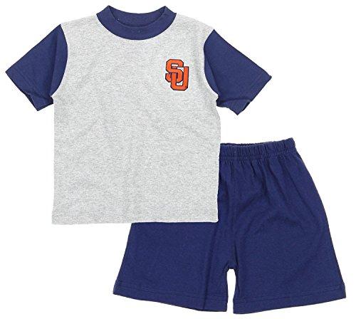 Syracuse University Orange NCAA Baby Boys Infant Shirt and Short Set, Grey-Navy